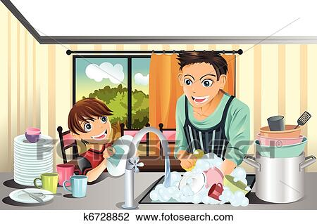 Clipart Of Father And Son Washing Dishes K6728852 Search