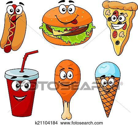 Clipart - colorido, caricatura, conjunto, de, comida rápida ...
