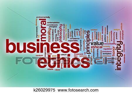 失量图库 - 商业伦理学, 词汇, 云, 带, 摘要, 背景