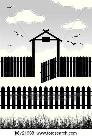 Clipart   pretas, cerca, com, portão,  , elementos, para, desenho ...