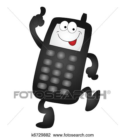 clipart dessin anim t l phone portable k6729882 recherchez des clip arts des. Black Bedroom Furniture Sets. Home Design Ideas