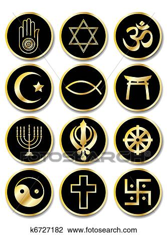 Clipart Of Religious Symbols Stickers Gold On Black K6727182