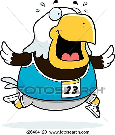 clipart of cartoon eagle running race k26404120 search clip art rh fotosearch com