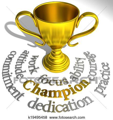 Stock Illustration Of Champion Trophy Winning Success Words
