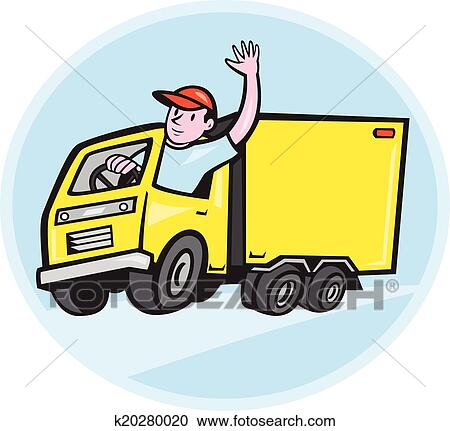 clipart of delivery truck driver waving cartoon k20280020 - search