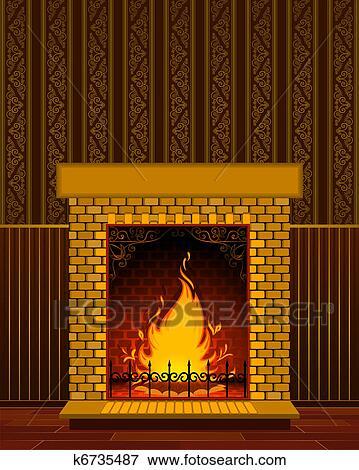 stock illustration stein kaminofen mit flamme k6735487 suche clipart zeichnungen. Black Bedroom Furniture Sets. Home Design Ideas