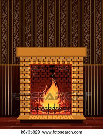 Clip Art of Stone fireplace with flame k6735829 - Search Clipart ...