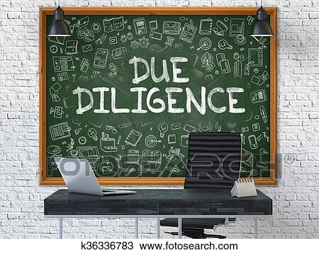 Drawing   Hand Drawn Due Diligence On Office Chalkboard.. Fotosearch    Search Clipart,