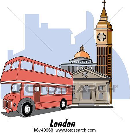 clipart londres angleterre grand ben autobus k6740368 recherchez des cliparts des. Black Bedroom Furniture Sets. Home Design Ideas