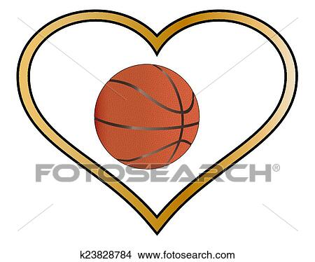 clipart of love basketball k23828784 search clip art illustration rh fotosearch com Basketball Heart Designs Basketball Black and White Heart