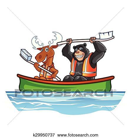 Clip Art Of Moose And Bear In Canoe K29950737
