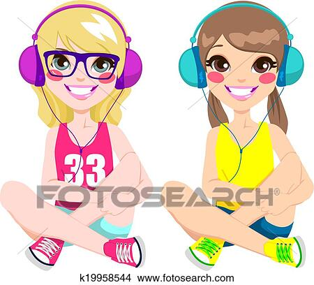clipart of teenager girls listening music k19958544 search clip rh fotosearch com The Talking On Phone Clip Art Dance Clip Art