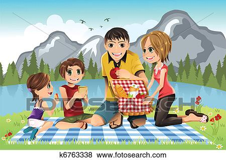 clip art of family picnic k6763338 search clipart illustration rh fotosearch com family picnic clipart pictures family having a picnic clipart