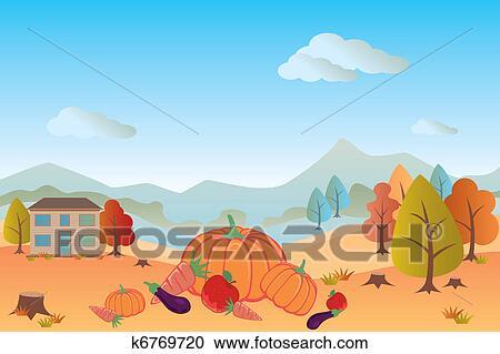 剪贴画 - 秋天风景