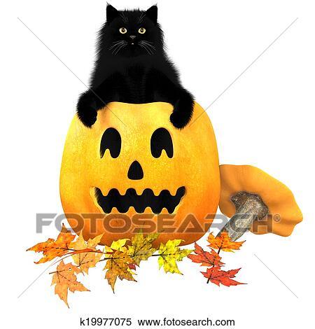 stock illustration schwarze katze halloween herbst geht k19977075 suche clipart. Black Bedroom Furniture Sets. Home Design Ideas
