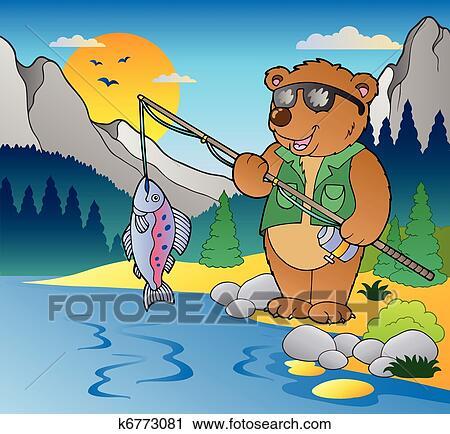 Clipart lago con cartone animato pescatore 2 k6773081 for Lago disegno
