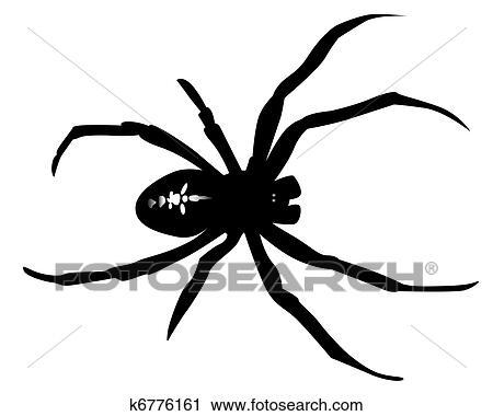 clipart schwarz silhouette von a spinne k6776161 suche clip art illustration wandbilder. Black Bedroom Furniture Sets. Home Design Ideas