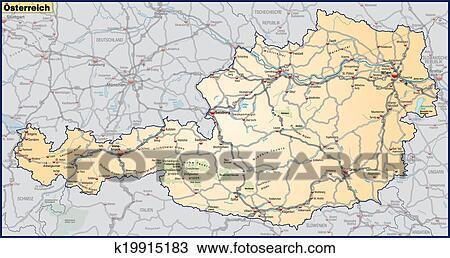 手绘图 - 地图, 在中, 奥地利, 带, 高速公路