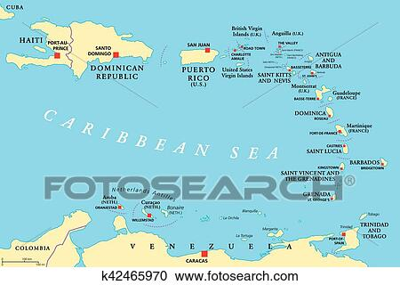 Clipart of Lesser Antilles political map k42465970 Search Clip Art