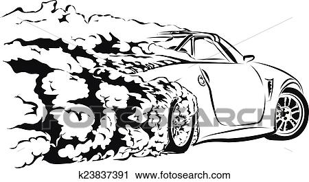 Line Drawing Car : Clipart of car sport drift k23837391 search clip art illustration