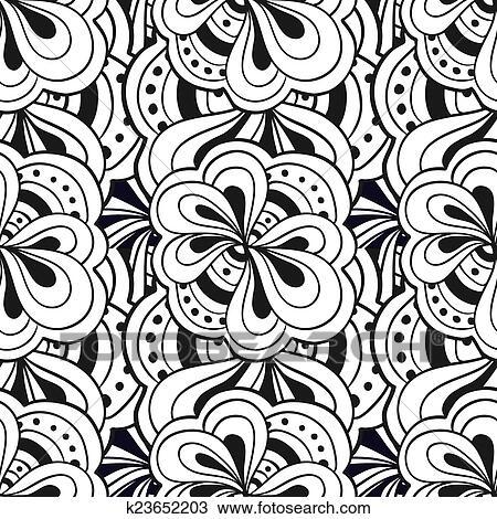 clipart vektor gekritzel hand gezeichnet abstrakt schwarz wei seamless muster. Black Bedroom Furniture Sets. Home Design Ideas