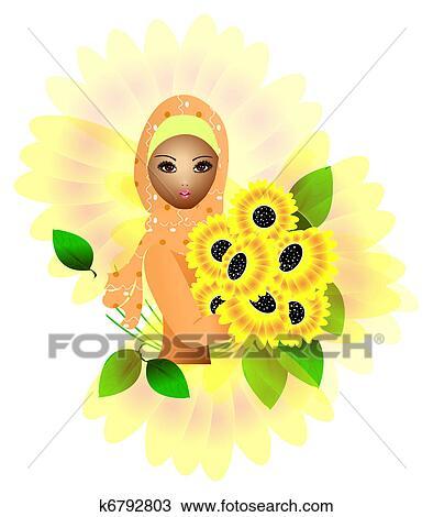 a, 美丽, 穆斯林, 女孩, 握住, 向日葵图片