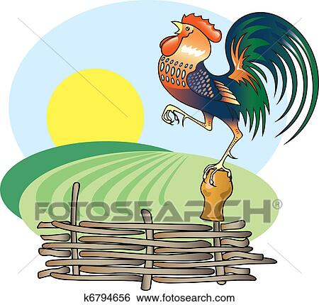 Clip Art of Singing Rooster and morning Sun. k6794656 ...