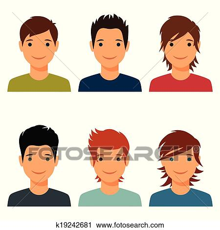 Clipart Of Set Cute Young Boys With Various Hair Style K19242681