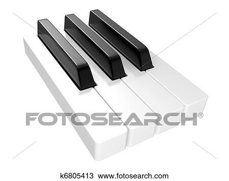 Drawing Of 3d Illustration Black White Piano Keys K6805413