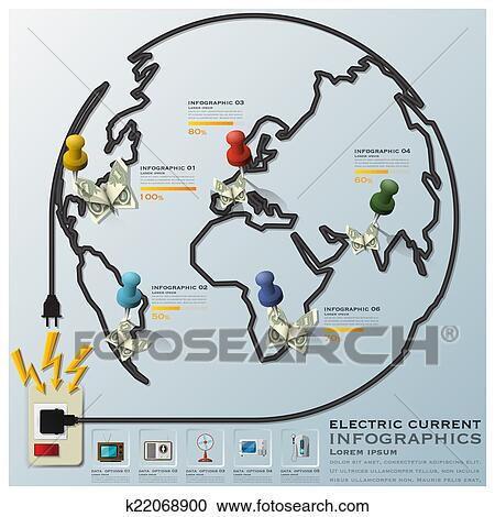Clipart Of Electric Current And Equipment Earth Wire Line Business