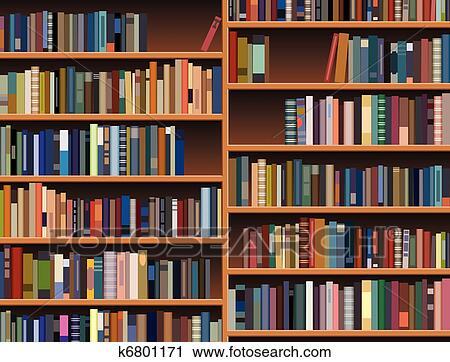 Bücherregal clipart  Clipart - vektor, hölzern, bücherregal k6801171 - Suche Clip Art ...