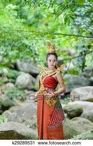 泰国, 泰国人, 涅盘境界, 美丽, 老, 肖像, 背景;, 舞蹈演员, 艺术