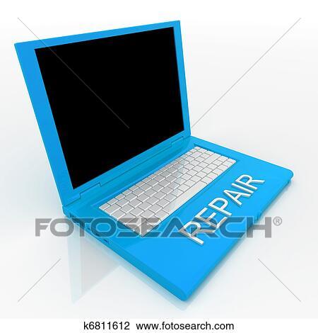 Clip art laptop computer mit wort reparatur auf ihm fotosearch