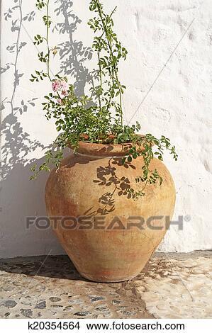 banque de photo ancien espagnol pot fleurs terre cuite k20354564 recherchez des images. Black Bedroom Furniture Sets. Home Design Ideas