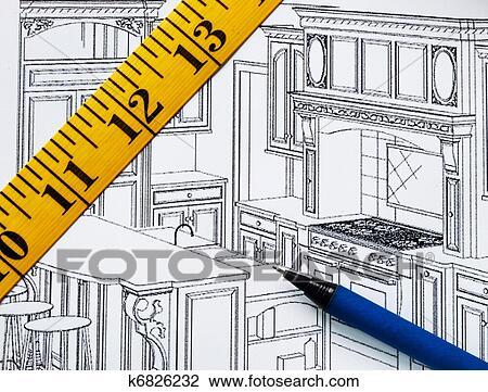 Banque de photo planification r novation dans cuisine for Cuisine planification
