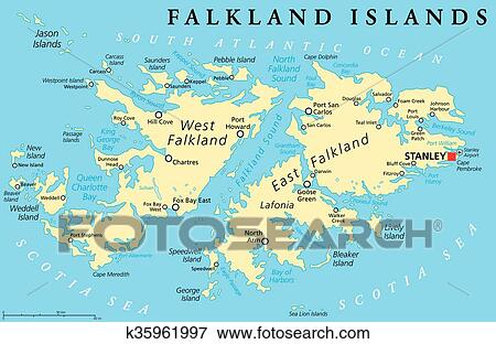 Clip Art of Falkland Island Political Map k35961997 Search Clipart