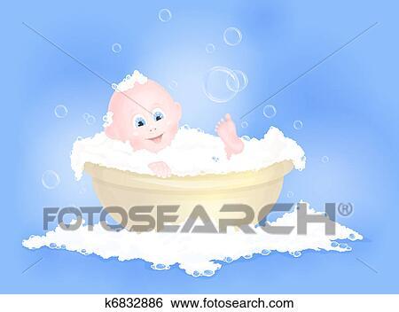 剪贴画 婴儿, 有, 洗澡