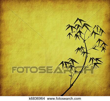 Dessins conception de chinois arbres bambou texture de papier fait main k6836964 - Dessin arbre chinois ...