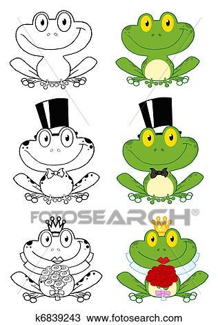猫和青蛙的卡通画