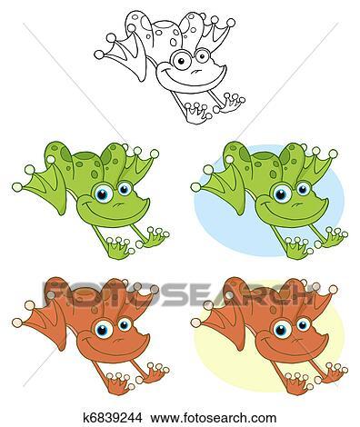 剪贴画 - 青蛙, hopping., 收集