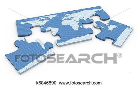 Stock illustrations of 3d world map puzzle k6846890 search clipart 3d render of world map puzzle on white background gumiabroncs