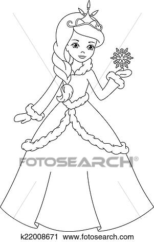 Clipart Of Winter Princess Coloring Page K22008671