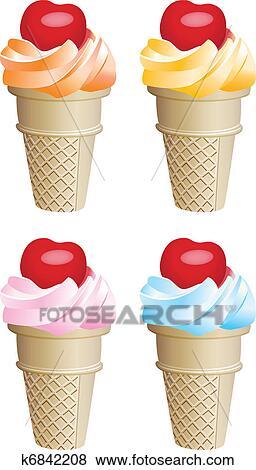 剪贴画 水果, 冰淇淋, 锥形物