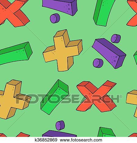 Clip Art Of Seamless Psttern Cartoon Math Symbols K36852869 Search
