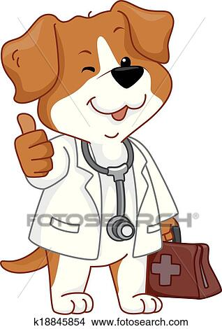 clipart of dog vet thumbs up k18845854 search clip art rh fotosearch com veterinarian clip art free veterinary clipart