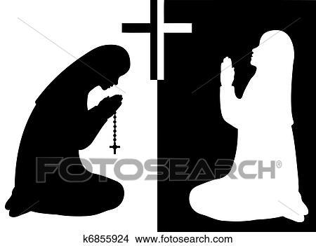 Clipart Of Praying Nuns K6855924