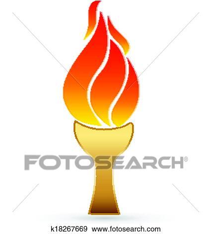 Clip Art Of Sport Torch Icon Logo K18267669