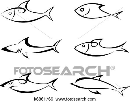clip art of fish set of vector icons k6861766 search clipart rh fotosearch com clipart construction free clip art construction worker