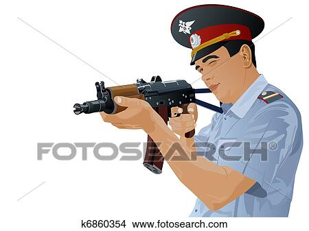 Drawings of A police officer with - 20.0KB