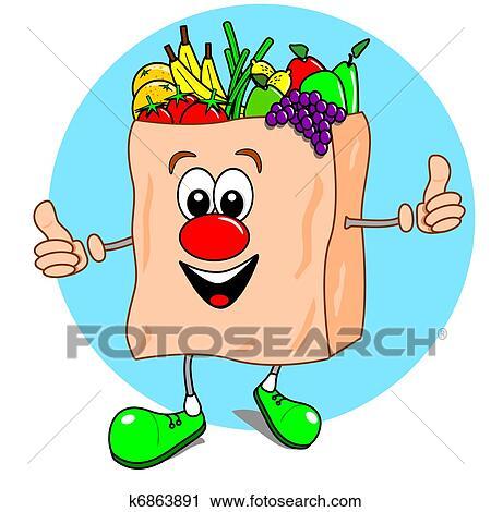 Clipart cartone animato borsa frutta veg k6863891 for Clipart frutta